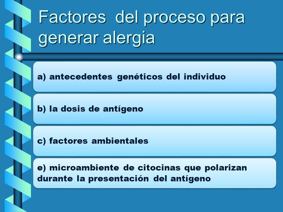 Factores del proceso para generar alergia