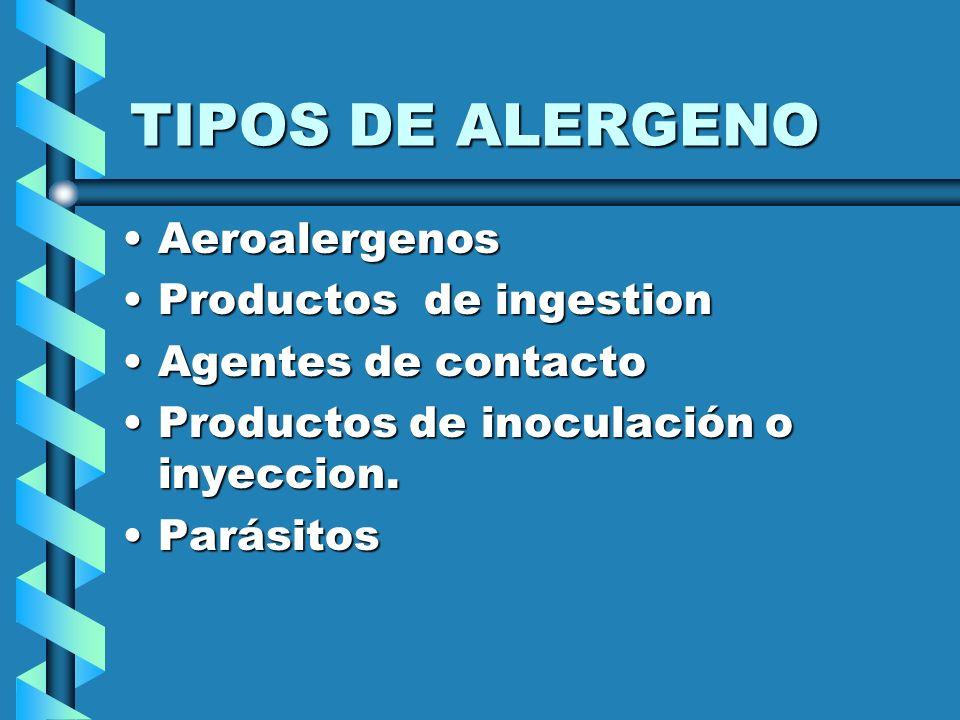 TIPOS DE ALERGENO Aeroalergenos Productos de ingestion