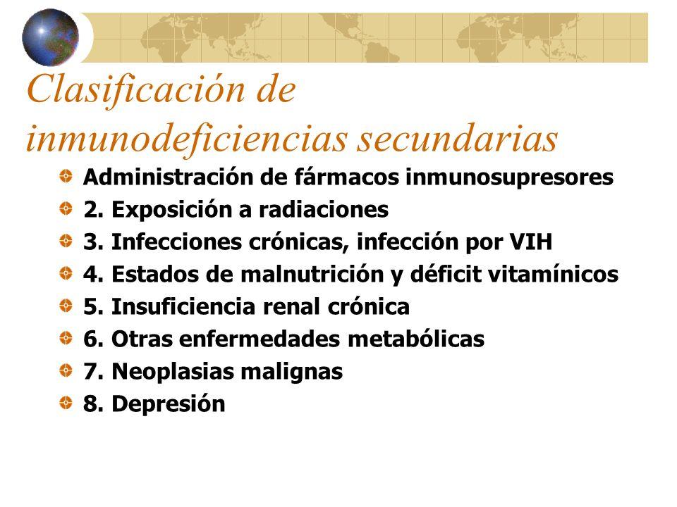 Clasificación de inmunodeficiencias secundarias