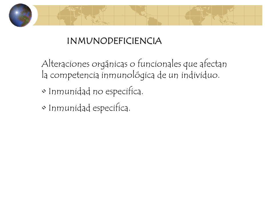 INMUNODEFICIENCIAAlteraciones orgánicas o funcionales que afectan la competencia inmunológica de un individuo.