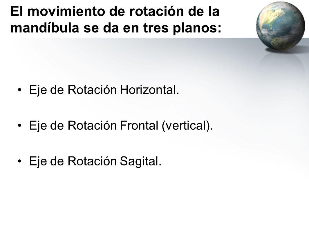 El movimiento de rotación de la mandíbula se da en tres planos: