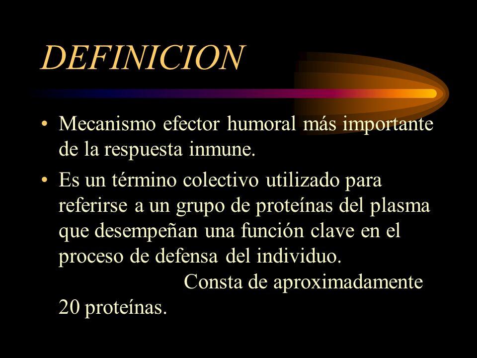 DEFINICION Mecanismo efector humoral más importante de la respuesta inmune.