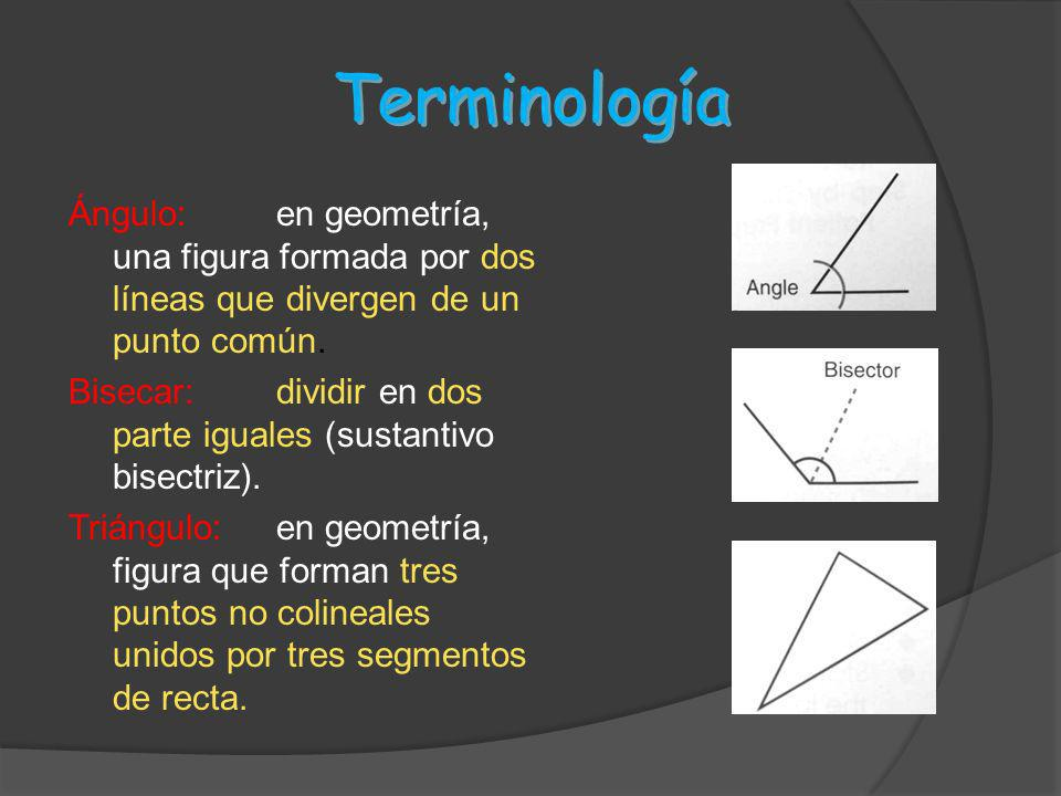 Terminología Ángulo: en geometría, una figura formada por dos líneas que divergen de un punto común.