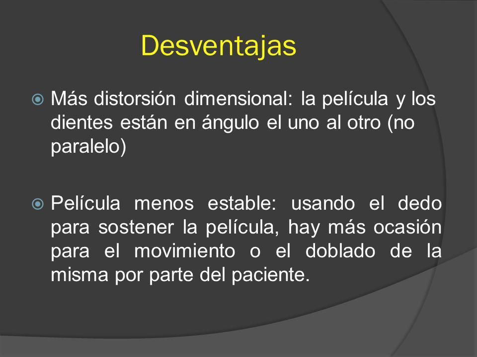 Desventajas Más distorsión dimensional: la película y los dientes están en ángulo el uno al otro (no paralelo)