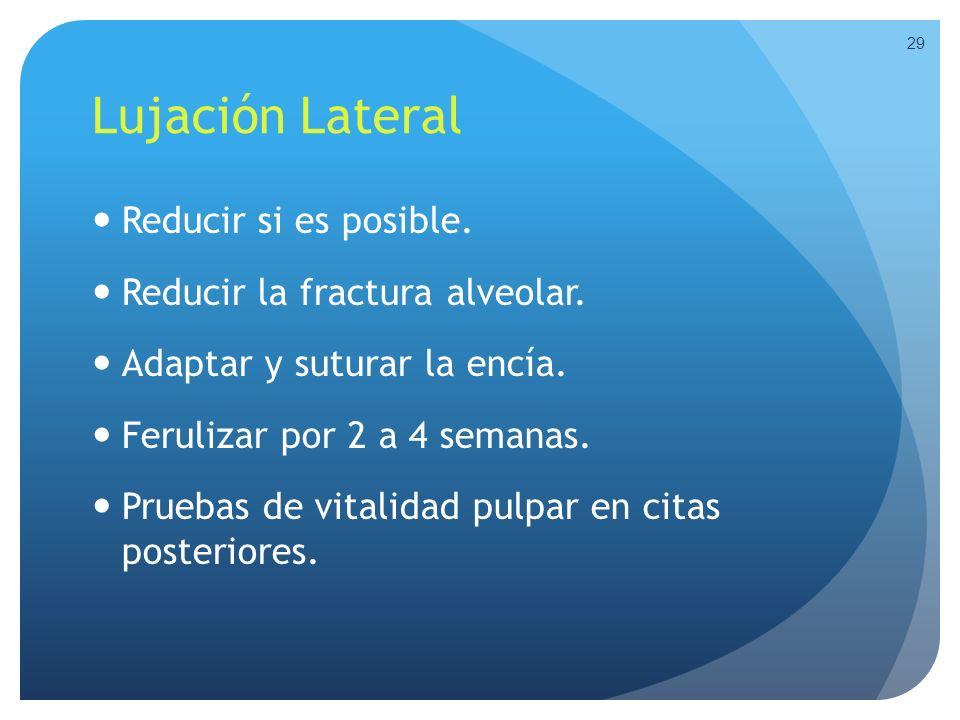 Lujación Lateral Reducir si es posible. Reducir la fractura alveolar.