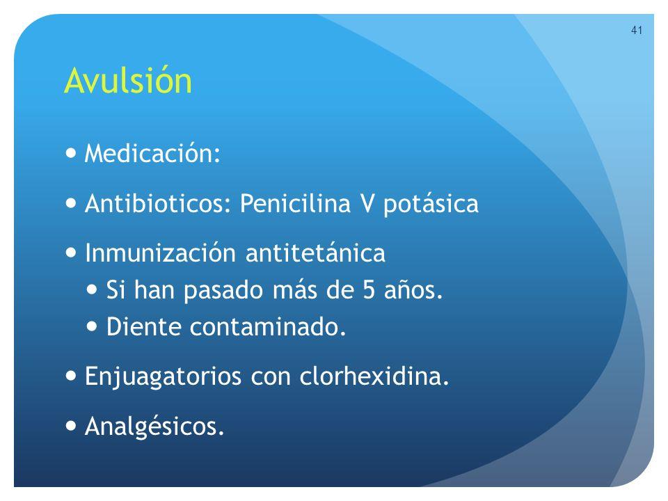 Avulsión Medicación: Antibioticos: Penicilina V potásica
