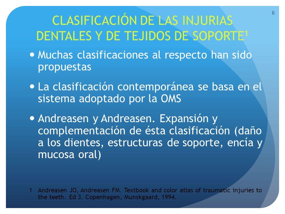 CLASIFICACIÓN DE LAS INJURIAS DENTALES Y DE TEJIDOS DE SOPORTE1