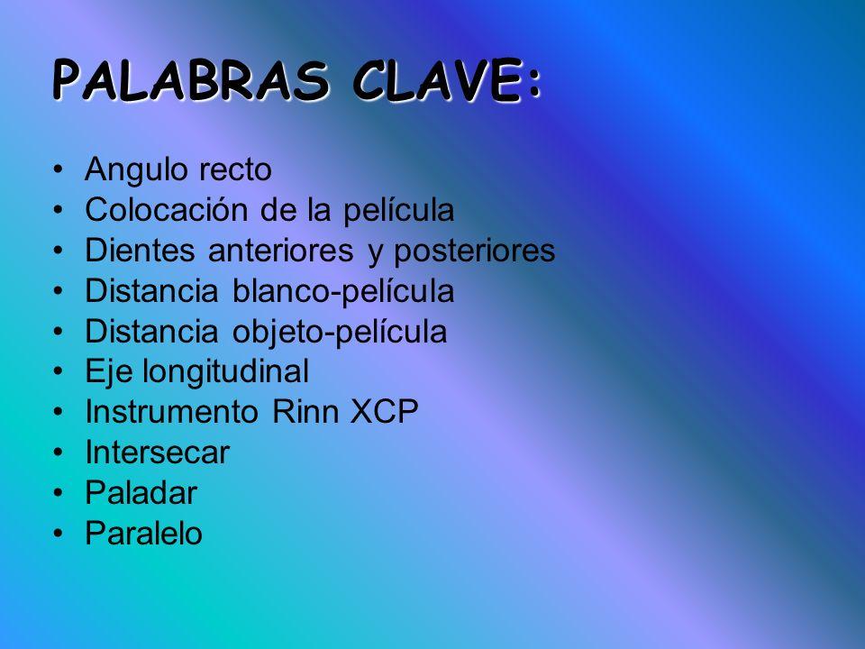 PALABRAS CLAVE: Angulo recto Colocación de la película