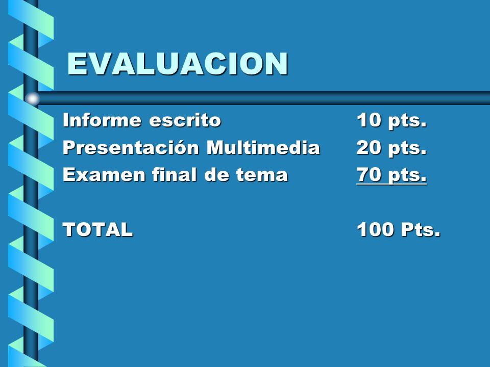 EVALUACION Informe escrito 10 pts. Presentación Multimedia 20 pts.