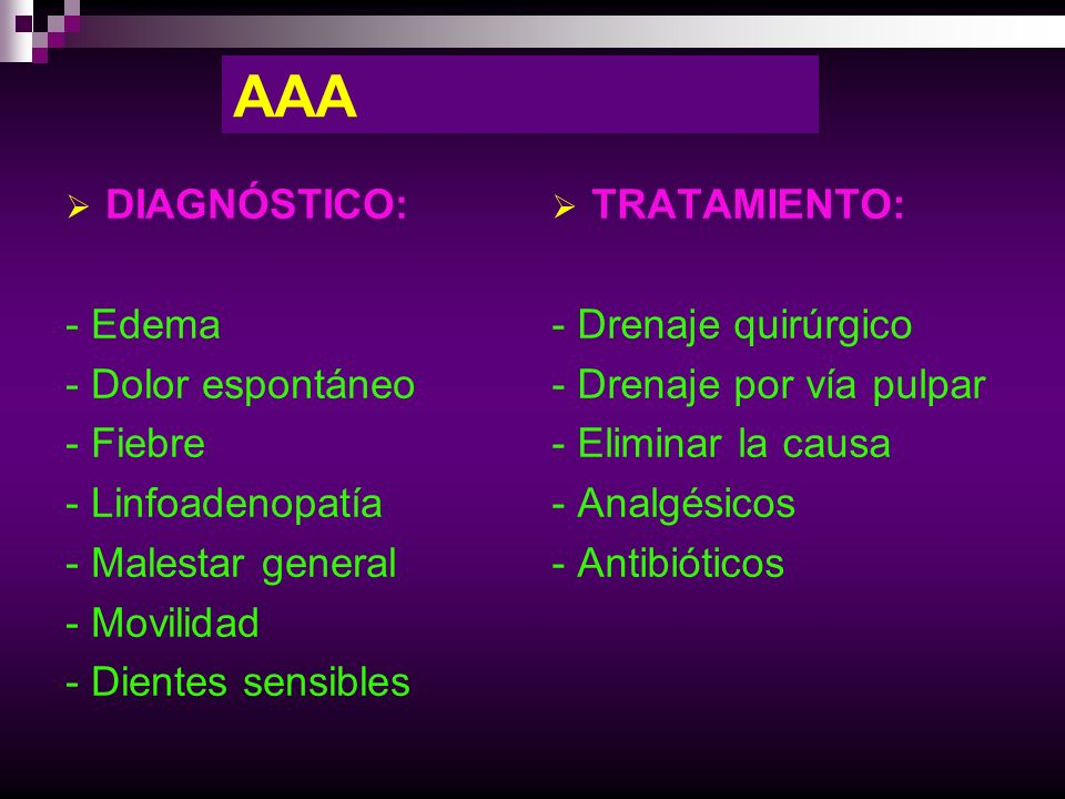 AAA DIAGNÓSTICO: - Edema - Dolor espontáneo - Fiebre - Linfoadenopatía