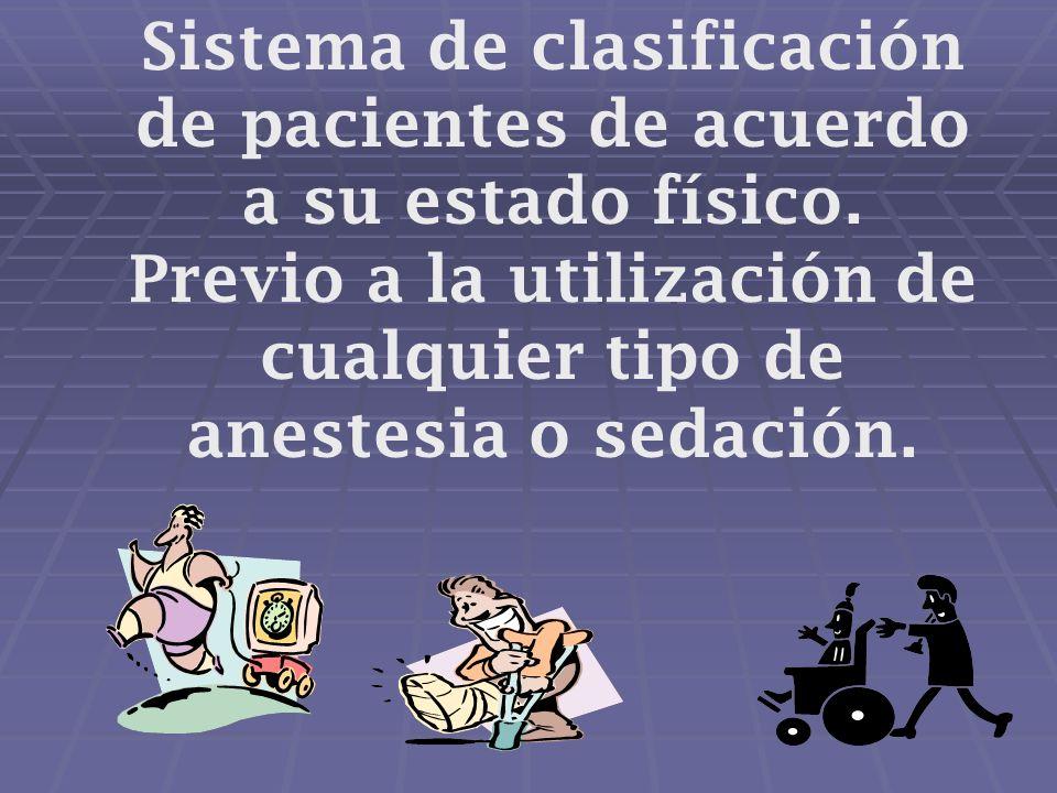 Sistema de clasificación de pacientes de acuerdo a su estado físico.
