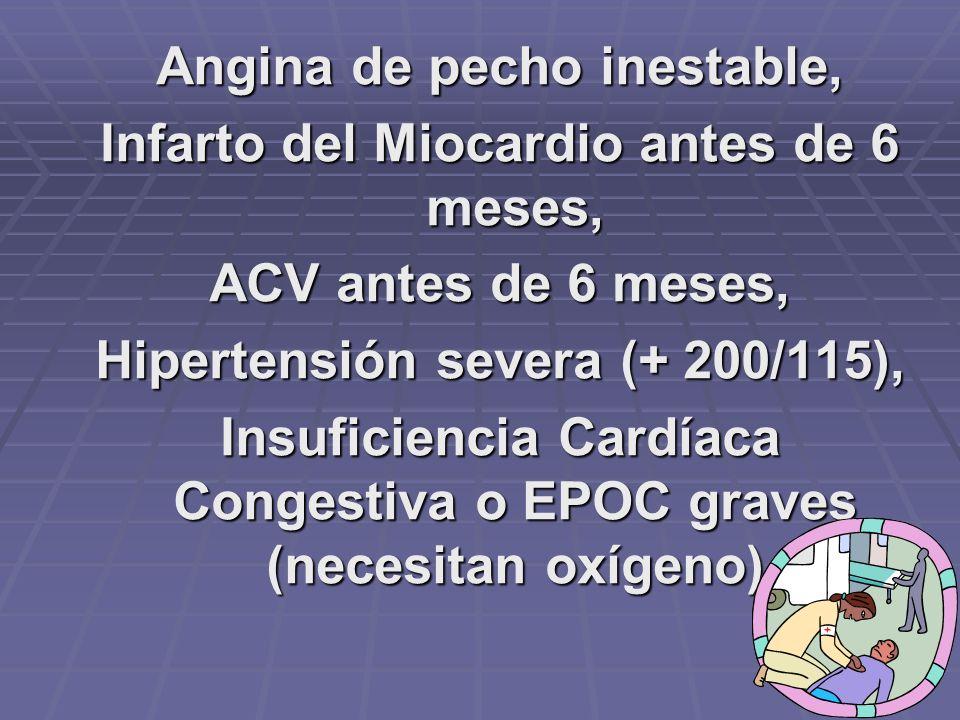Angina de pecho inestable, Infarto del Miocardio antes de 6 meses,