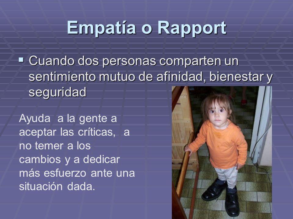 Empatía o Rapport Cuando dos personas comparten un sentimiento mutuo de afinidad, bienestar y seguridad.