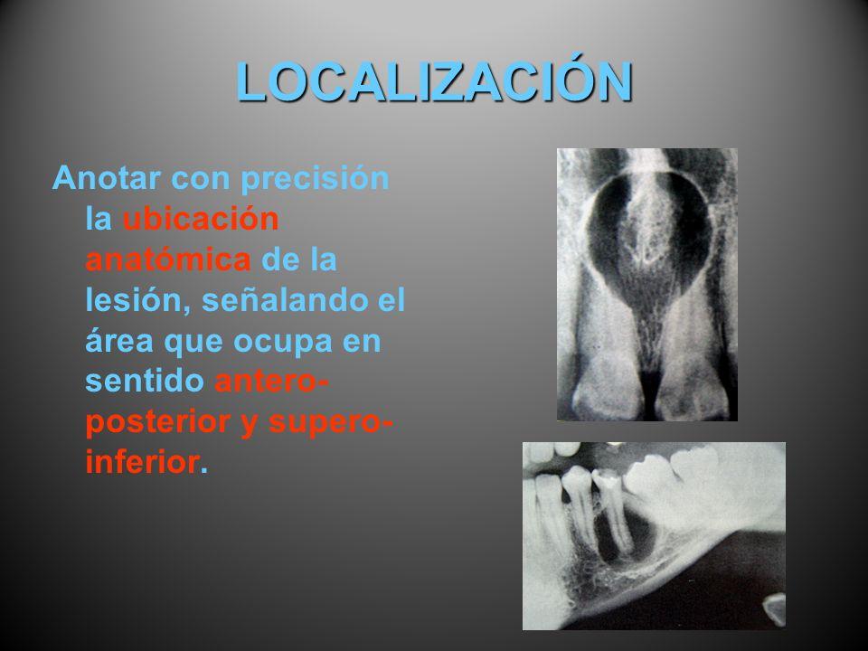 LOCALIZACIÓNAnotar con precisión la ubicación anatómica de la lesión, señalando el área que ocupa en sentido antero-posterior y supero-inferior.