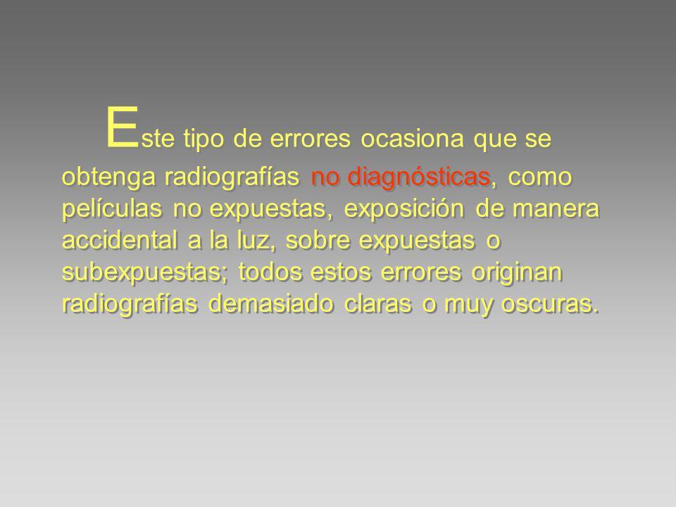 Este tipo de errores ocasiona que se obtenga radiografías no diagnósticas, como películas no expuestas, exposición de manera accidental a la luz, sobre expuestas o subexpuestas; todos estos errores originan radiografías demasiado claras o muy oscuras.