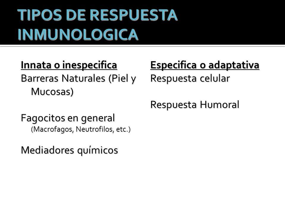 TIPOS DE RESPUESTA INMUNOLOGICA