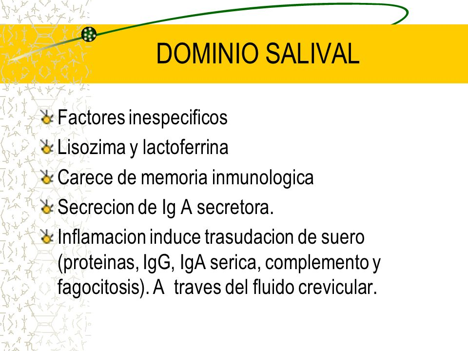 DOMINIO SALIVAL Factores inespecificos Lisozima y lactoferrina