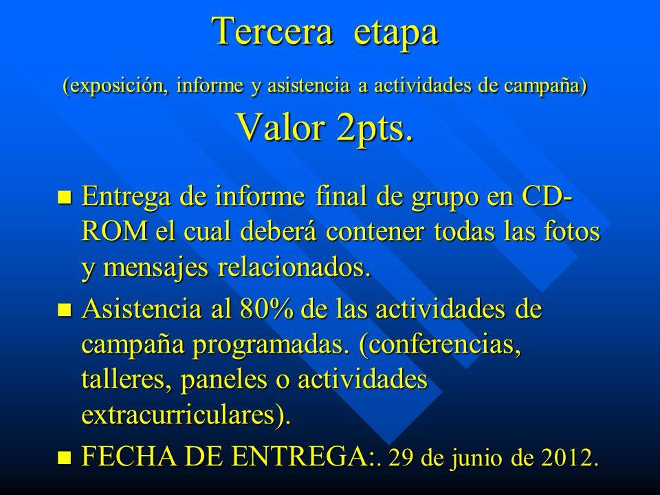 Tercera etapa (exposición, informe y asistencia a actividades de campaña) Valor 2pts.