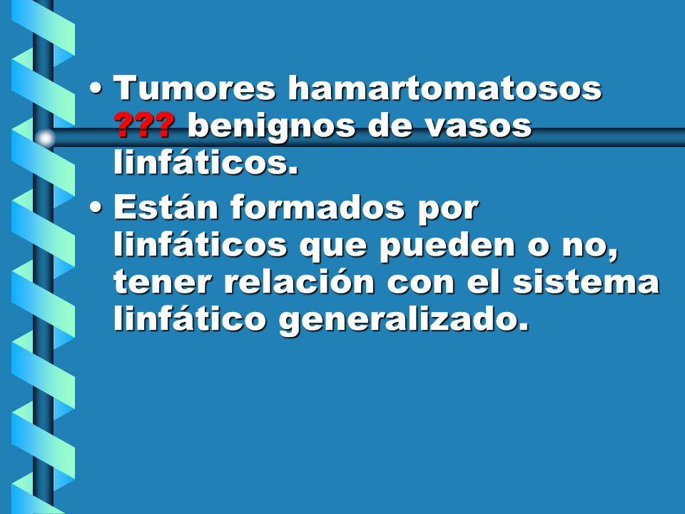 Tumores hamartomatosos benignos de vasos linfáticos.