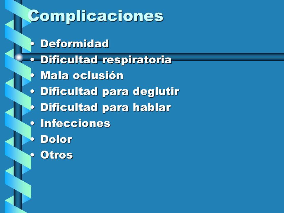 Complicaciones Deformidad Dificultad respiratoria Mala oclusión