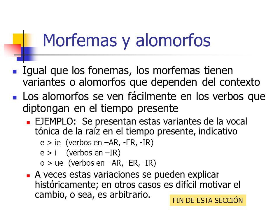 Morfemas y alomorfos Igual que los fonemas, los morfemas tienen variantes o alomorfos que dependen del contexto.