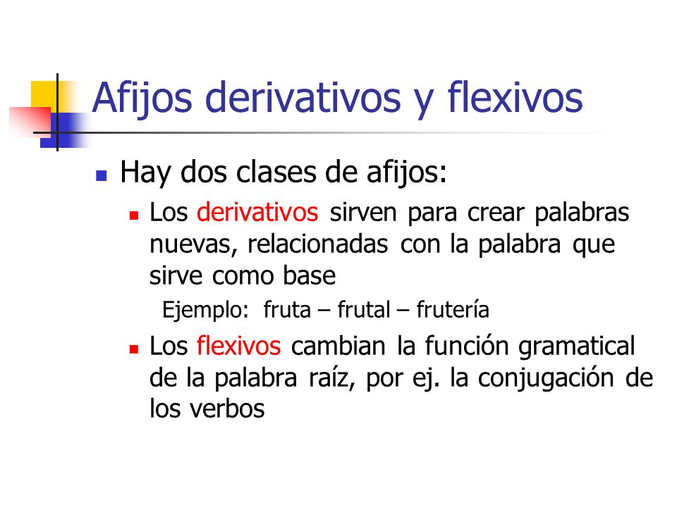 Afijos derivativos y flexivos