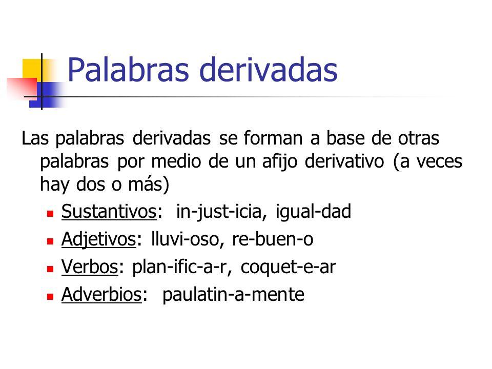 Palabras derivadas Las palabras derivadas se forman a base de otras palabras por medio de un afijo derivativo (a veces hay dos o más)
