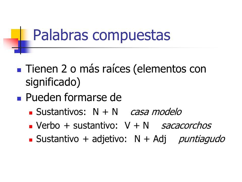 Palabras compuestas Tienen 2 o más raíces (elementos con significado)