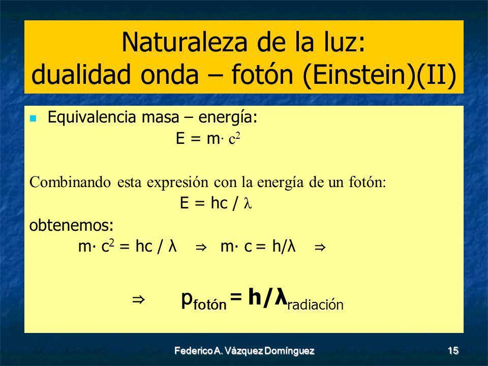 Naturaleza de la luz: dualidad onda – fotón (Einstein)(II)