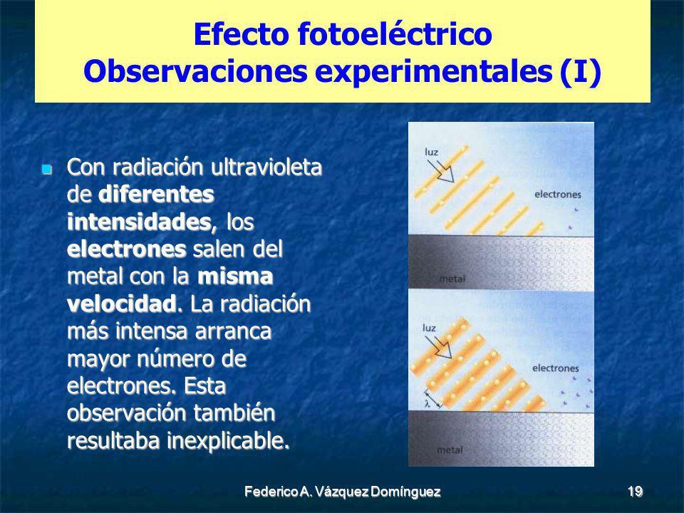 Efecto fotoeléctrico Observaciones experimentales (I)
