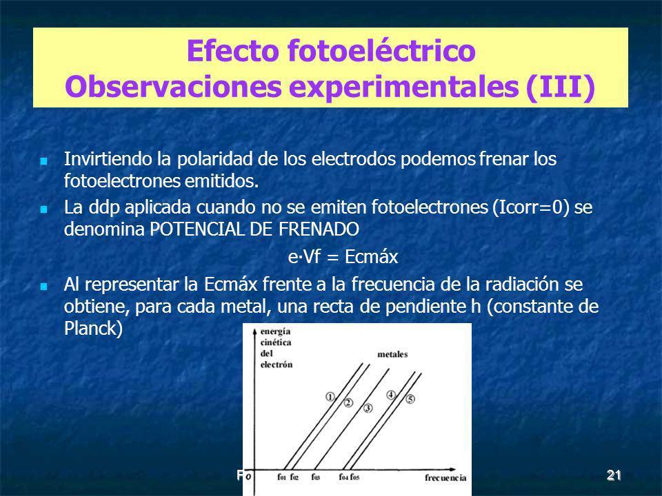 Efecto fotoeléctrico Observaciones experimentales (III)