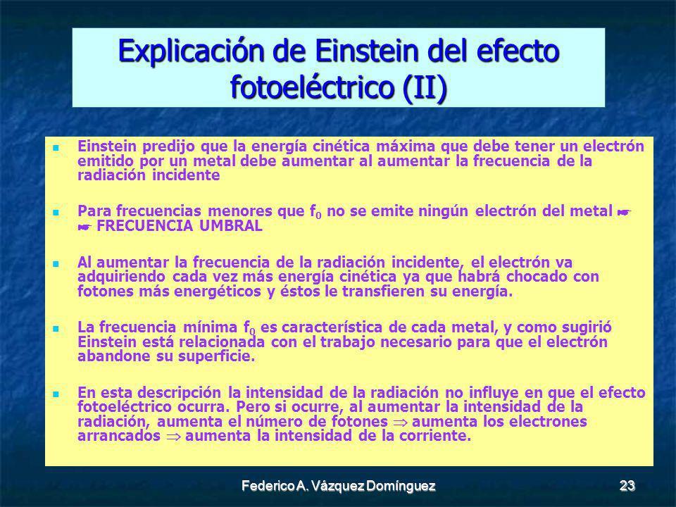 Explicación de Einstein del efecto fotoeléctrico (II)