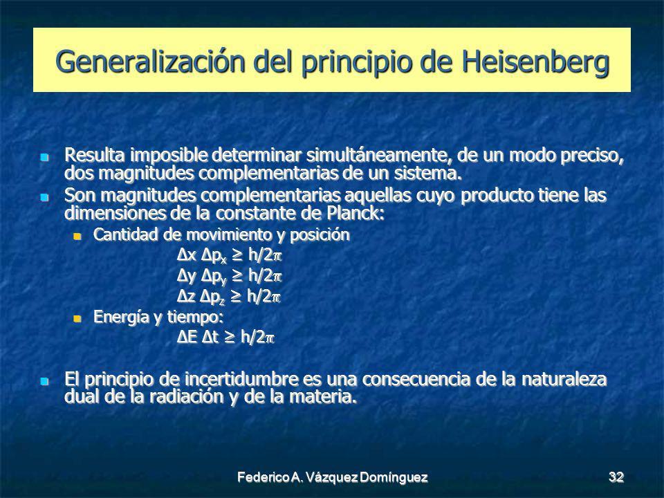 Generalización del principio de Heisenberg