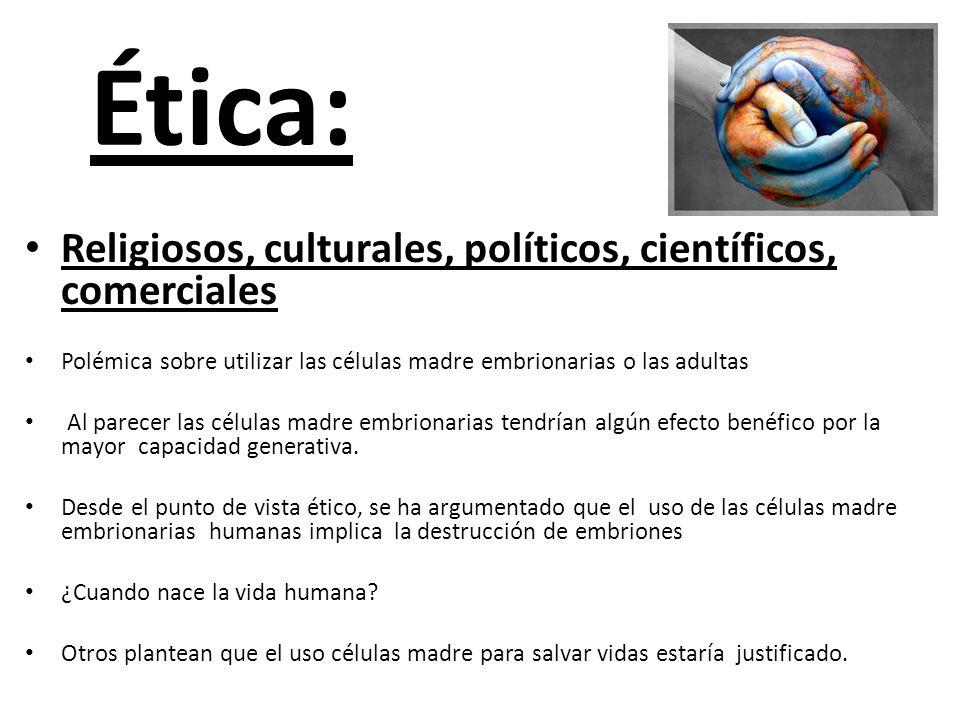 Ética: Religiosos, culturales, políticos, científicos, comerciales