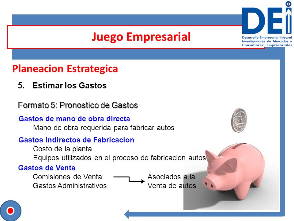 Juego Empresarial Planeacion Estrategica Estimar los Gastos