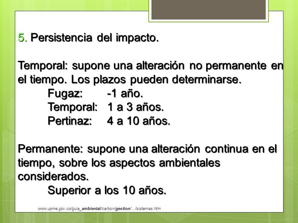 5. Persistencia del impacto.