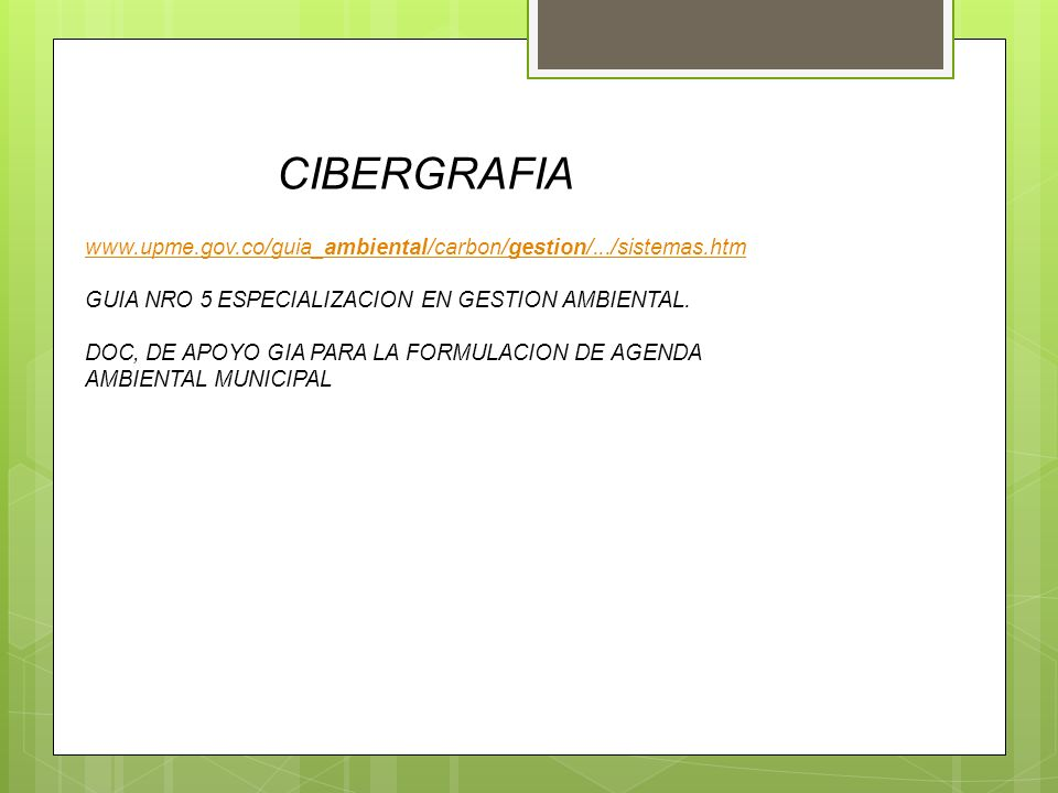 CIBERGRAFIA www.upme.gov.co/guia_ambiental/carbon/gestion/.../sistemas.htm. GUIA NRO 5 ESPECIALIZACION EN GESTION AMBIENTAL.