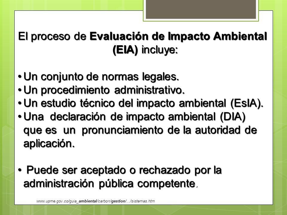 El proceso de Evaluación de Impacto Ambiental (EIA) incluye: