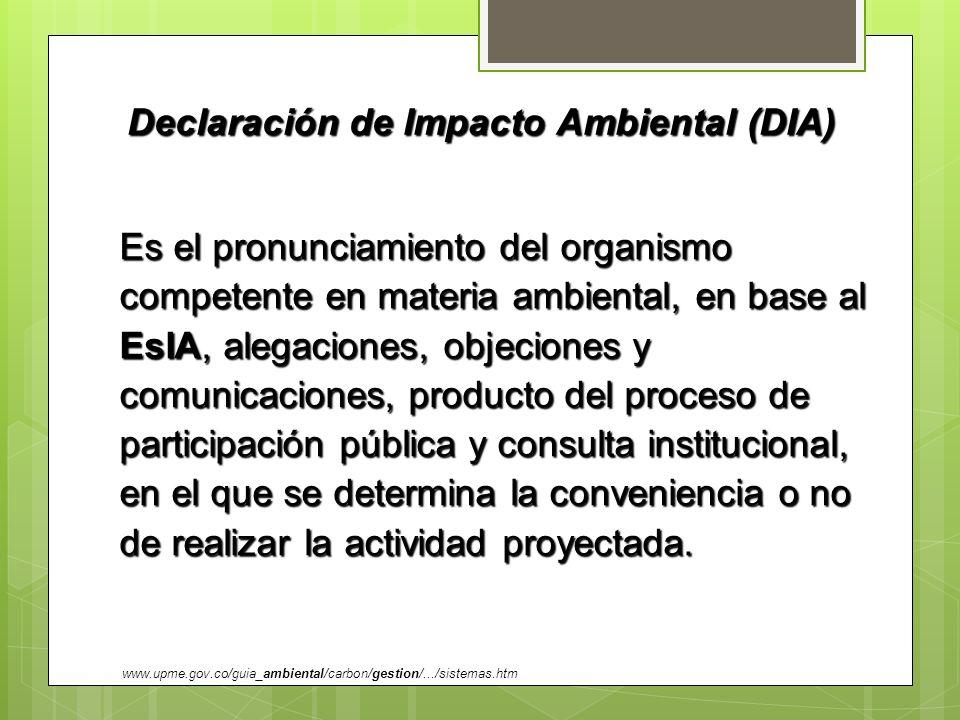 Declaración de Impacto Ambiental (DIA)