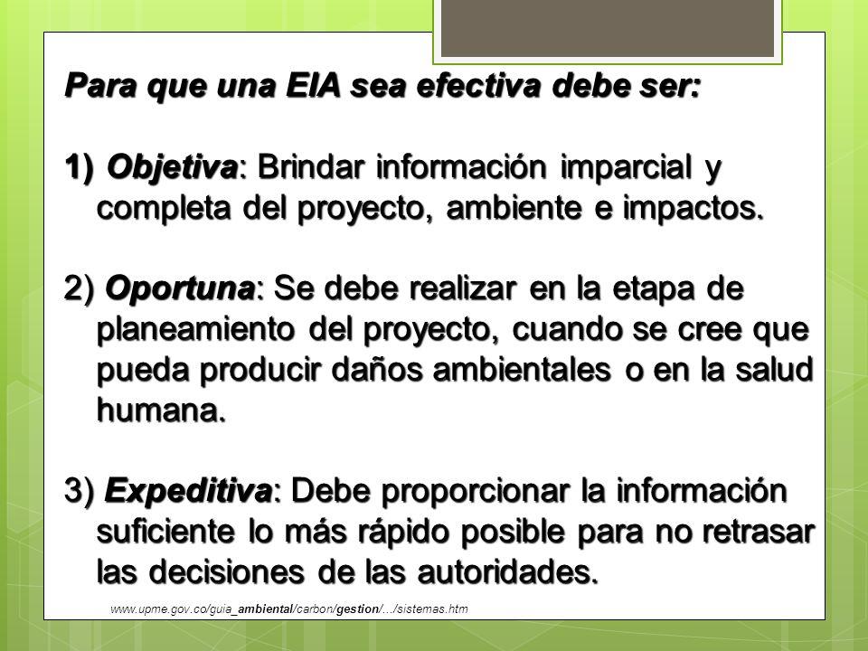 Para que una EIA sea efectiva debe ser: