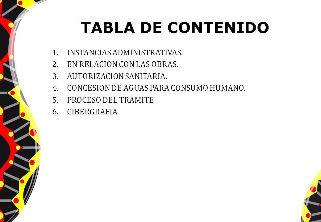 TABLA DE CONTENIDO INSTANCIAS ADMINISTRATIVAS.