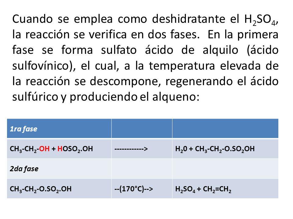 Cuando se emplea como deshidratante el H2SO4, la reacción se verifica en dos fases. En la primera fase se forma sulfato ácido de alquilo (ácido sulfovínico), el cual, a la temperatura elevada de la reacción se descompone, regenerando el ácido sulfúrico y produciendo el alqueno: