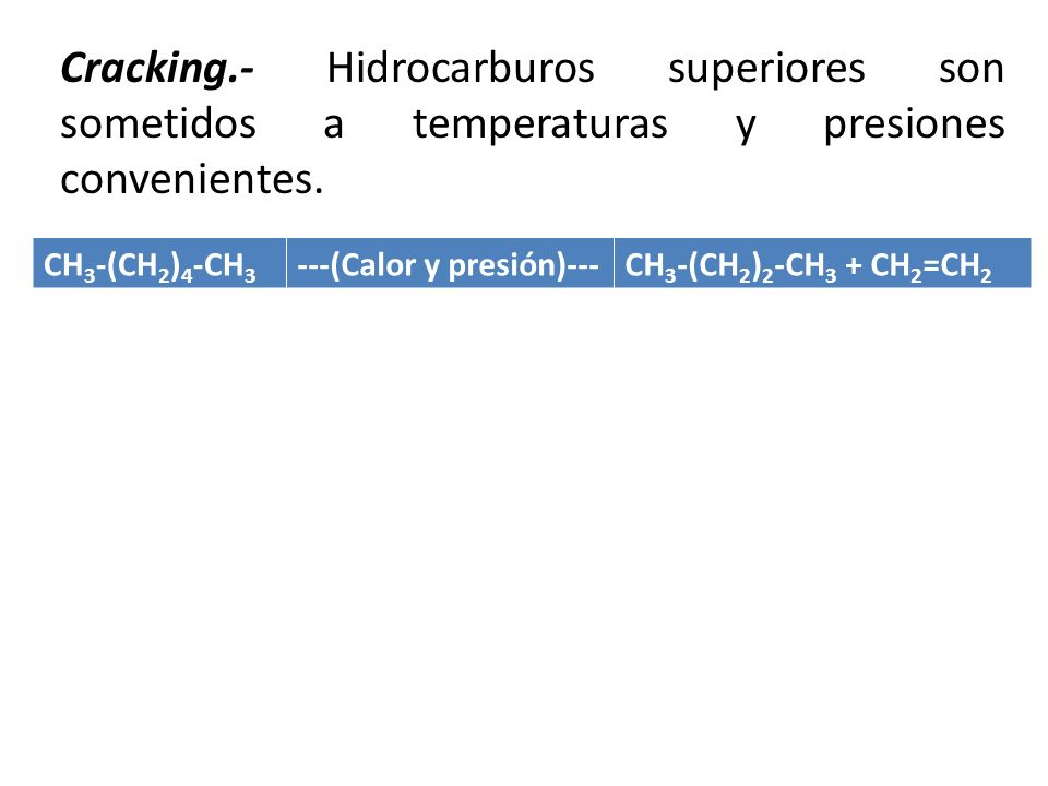 Cracking.- Hidrocarburos superiores son sometidos a temperaturas y presiones convenientes.