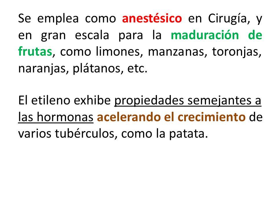 Se emplea como anestésico en Cirugía, y en gran escala para la maduración de frutas, como limones, manzanas, toronjas, naranjas, plátanos, etc.