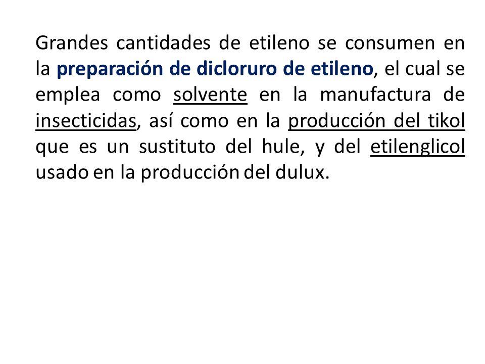 Grandes cantidades de etileno se consumen en la preparación de dicloruro de etileno, el cual se emplea como solvente en la manufactura de insecticidas, así como en la producción del tikol que es un sustituto del hule, y del etilenglicol usado en la producción del dulux.