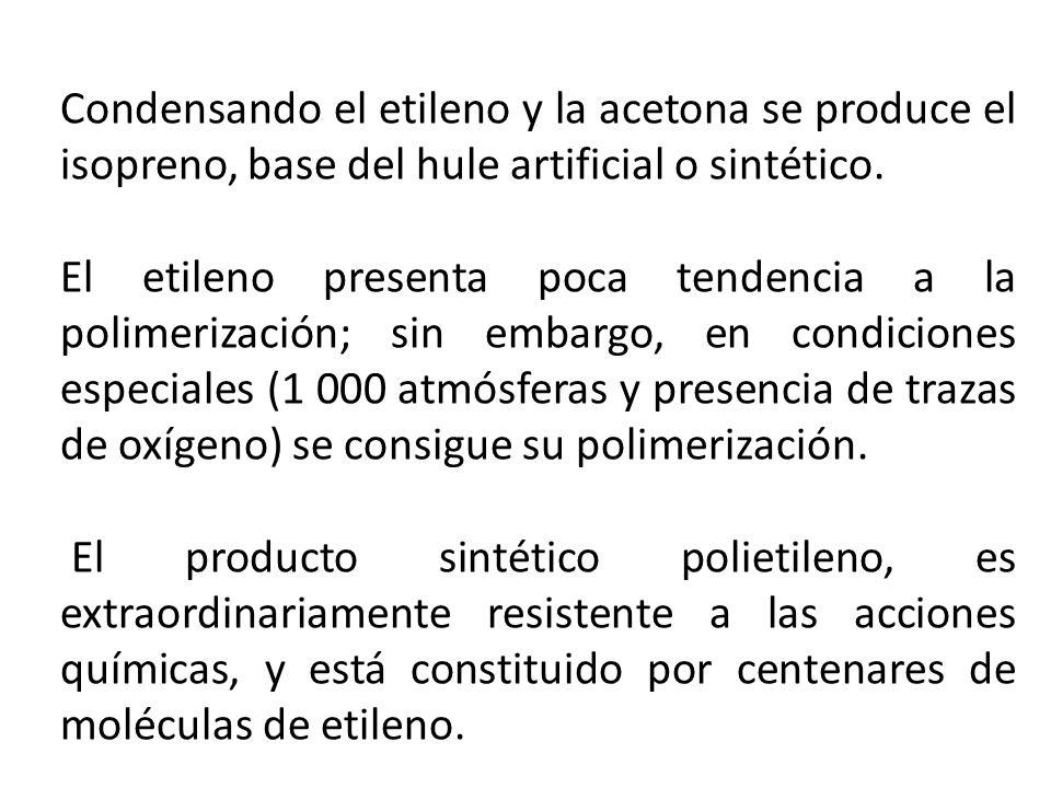 Condensando el etileno y la acetona se produce el isopreno, base del hule artificial o sintético.