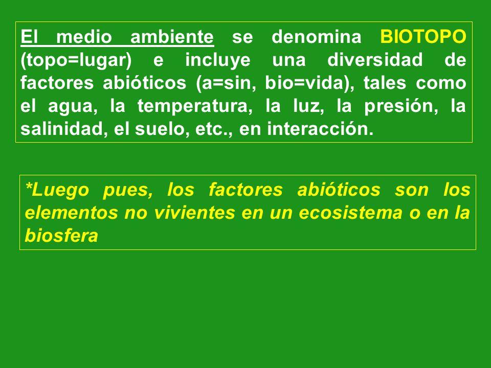 El medio ambiente se denomina BIOTOPO (topo=lugar) e incluye una diversidad de factores abióticos (a=sin, bio=vida), tales como el agua, la temperatura, la luz, la presión, la salinidad, el suelo, etc., en interacción.