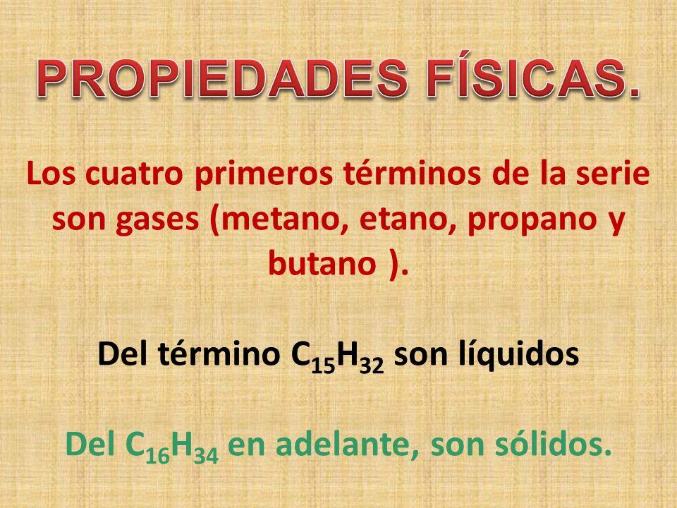 Los cuatro primeros términos de la serie son gases (metano, etano, propano y butano ). Del término C15H32 son líquidos Del C16H34 en adelante, son sólidos.