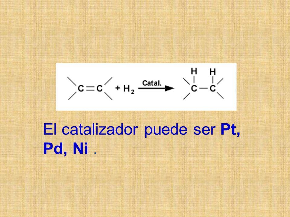 El catalizador puede ser Pt, Pd, Ni .