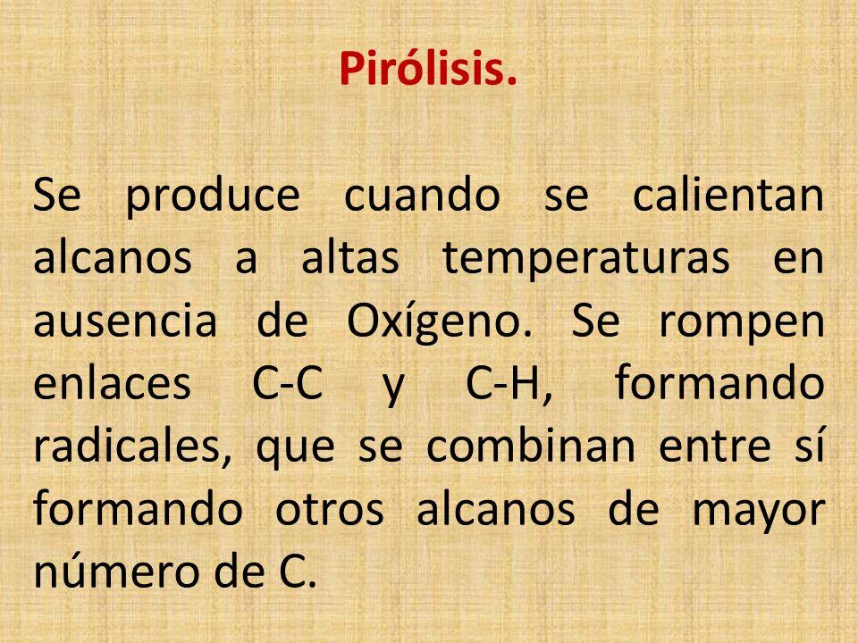 Pirólisis. Se produce cuando se calientan alcanos a altas temperaturas en ausencia de Oxígeno.